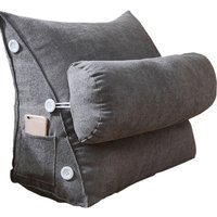 Toyswill Triangle Sofa Cushion Backrest Wedge Pillow Bed Chair Lumbar Support(Grey 45*25*50cm)