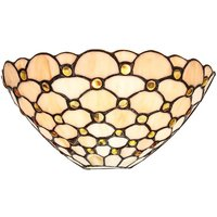 Traditional Amber Glass Tiffany Wall Light Fitting with Multiple Circular Beads by Happy Homewares