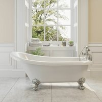 Park Lane - Traditional Buxton Freestanding Bath Single Ended Ball Feet 1550mm Acrylic White