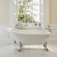Traditional Buxton Freestanding Bath Single Ended Dragon Feet 1550 Acrylic White - PARK LANE