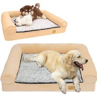 Traditional Large Dog Bed Pet Cuddler Couch Lounger Removable Cover - Beige - Size XL - BINGO PAW