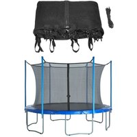12ft Trampoline Replacement Enclosure Surround Safety Net | Protective Inside Netting with Adjustable Straps | Compatible with 4 Straight Poles or 2