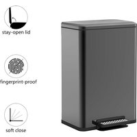 Trash Can with Step, 50L Stainless Steel Kitchen Bin with Aromatherapy Block Position (Black)