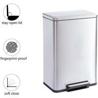Trash Can with Step, 50L Stainless Steel Kitchen Bin with Ar