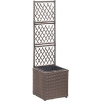 Betterlifegb - Trellis Raised Bed with 1 Pot 30x30x107 cm Poly Rattan Brown32822-Serial number