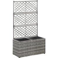 Trellis Raised Bed with 2 Pots 58x30x107 cm Poly Rattan Grey