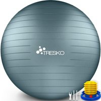 TRESKO Palla Fitness, Palla Pilates Anti-Scoppio 55cm/65cm/75cm/85cm Palla da Ginnastica con Pompa Rapida per Fitness Yoga e Pilates (Cool Grey Blue,