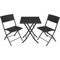 Tectake - Rattan garden furniture set Trevi - garden tables and chairs, garden furniture set, outdoor table and chairs - black