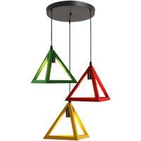 Modern Pendant Light Triangle Vintage Hanging Light Colorful 3 Lights Pendant Lamp Creative 3 Colors Retro Chandelier for Kitchen Farmhouse Hallway