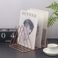 Triangle Iron Wire Magazine Holder Rack Newspaper Letters Stand Table Top Organiser - LIVINGANDHOME