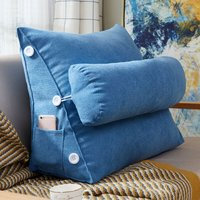 Triangle Sofa Cushion Backrest Wedge Pillow Bed Chair Lumbar Support Blue