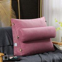 Triangular Corner Lumbar Support Cushion Backrest Cushion Soft Headboard Bolster (45CM Pink)