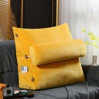 Triangular Corner Lumbar Support Cushion Bolster Back Cushion Soft Headboard (45cm Yellow)