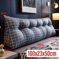 Triangular Wedge Lumbar Pillow 100*23*50cm Grey Support Cushion Backrest Bolster Soft Headboard