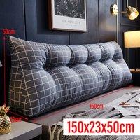 Triangular Wedge Lumbar Pillow 150*23*50cm Grey Support Cushion Backrest Bolster Soft Headboard