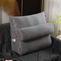 Triangular Wedge Lumbar Pillow Support Cushion Backrest Bolster Headboard Dark Grey 60CM