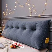 Triangular Wedge Lumbar Pillow Support Cushion Backrest Bolster Soft Headboard (100cm 39