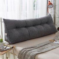 Triangular Wedge Lumbar Pillow Support Cushion Backrest Bolster Soft Headboard 120*23*50cm grey