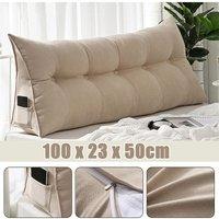 Triangular Wedge Lumbar Pillow Support Cushion Backrest Bolster Soft Headboard beige