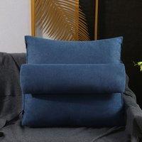 Triangular Wedge Lumbar Pillow Support Cushion Backrest Bolster Soft Headboard Dark Blue 45x20x45cm