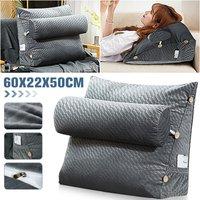 Triangular Wedge Lumbar Pillow Support Cushion Backrest Bolster Soft Headboard Dark grey