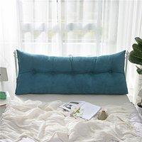 Triangular Wedge Lumbar Pillow Support Cushion Backrest Bolster Soft Headboard (Lake Blue 150cm)