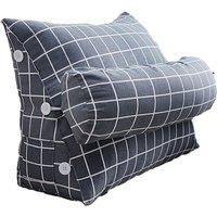 Drillpro - Triangular Wedge Lumbar Pillow Support Cushion Backrest Bolster Soft Headboard(60x50x22cm)
