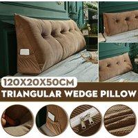 Triangular Wedge Lumbar Pillow Support Cushion Backrest Bolster Soft Headboard(Champagne)