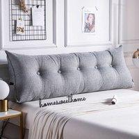 Triangular Wedge Lumbar Pillow Support Cushion Backrest Bolster Soft Headboard(Grey)