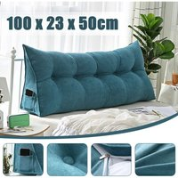 Triangular Wedge Lumbar Pillow Support Cushion Backrest Bolster Soft Headboard(Lake Blue 100CM 39)
