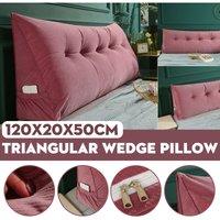 Triangular Wedge Lumbar Pillow Support Cushion Backrest Bolster Soft Headboard(Pink)