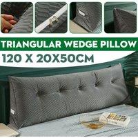 Triangular Wedge Lumbar Pillow Support Cushion Backrest Bolster Soft Headboard(Tile Grey)