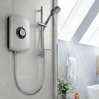 Triton Amore 8.5kW Electric Shower Brushed Steel 5 Spray Mode Handset 1.5m Hose