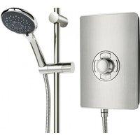 Aspirante 8.5KW Brushed Steel Electric Shower - Includes Head + Riser - Triton