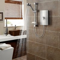 Triton Aspirante Electric Shower 8.5kW Head and Riser Brushed Steel