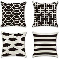 Tropical Plant Geometry Cushion Cover Flamingo Pillow Case for Sofa Home Living Room Bedroom Home Decoration, 45x45cm, 4 Piece Set (Black Stripes)