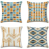 Tropical Plant Geometry Cushion Cover Flamingo Pillow Case for Sofa Home Living Room Bedroom Home Decoration, 45x45cm, 4 Piece Set (Orange Triangle)