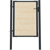 Portail de clôture en acier et bois d'épicéa 107x175 cm - True Deal