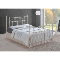 Tuscan Style Ivory Metal Bed Frame - Double 4ft 6