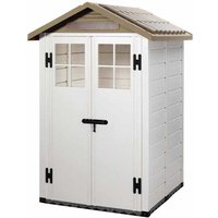 Shire - Tuscany Evo 4 x 4 100 Apex Plastic Shed Double Door with Two Pre Glazed Plastic Windows