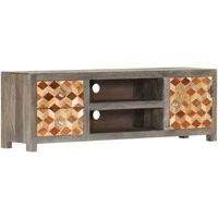 Zqyrlar - TV Cabinet Grey 120x30x40 cm Solid Mango Wood - Grey