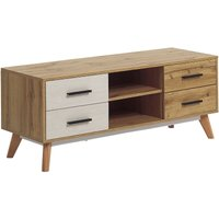 Modern TV Stand Unit with 4 Drawers 2 Shelves Light Wood with White Florida