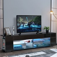 Augienb - TV Stand Unit Cabinet LED Entertainment Media Storage Sideboard Black