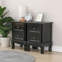 Two black bedside tables with two drawers 35 * 30 * 50cm - DAZHOM