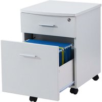 Two Drawer Lockable A4 Suspension Filing Pedestal Cabinet Cupboard Matching White Woodgrain Desks for Home Office Piranha Furniture - Blenny PC 10s
