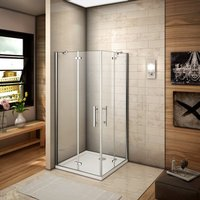 800x800x1850mm Two Frameless Pivot Hinge Doors Walk In Shower Enclosure Glass Screen Cubicle - AICA SANITAIRE