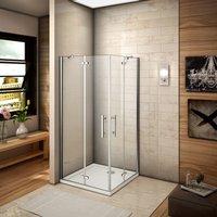 90x80x185cm Two Frameless Pivot Hinge Doors Walk In Shower Enclosure Glass Screen Cubicle 90x80cm Shower Tray