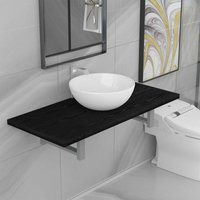 Two Piece Bathroom Furniture Set Ceramic Black