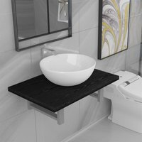 Two Piece Bathroom Furniture Set Ceramic Black - Black