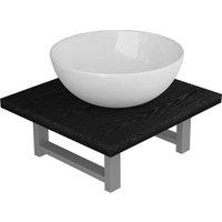 vidaXL Two Piece Bathroom Furniture Set Ceramic Black - Black